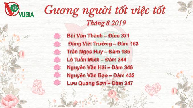 Danh sách tấm gương người tốt việc tốt Taxi Vũ Gia 8/2019